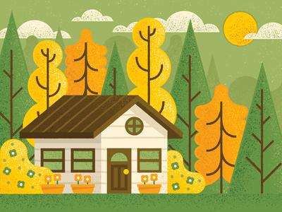 Little Cabin trees texture house cabin design vector illustration