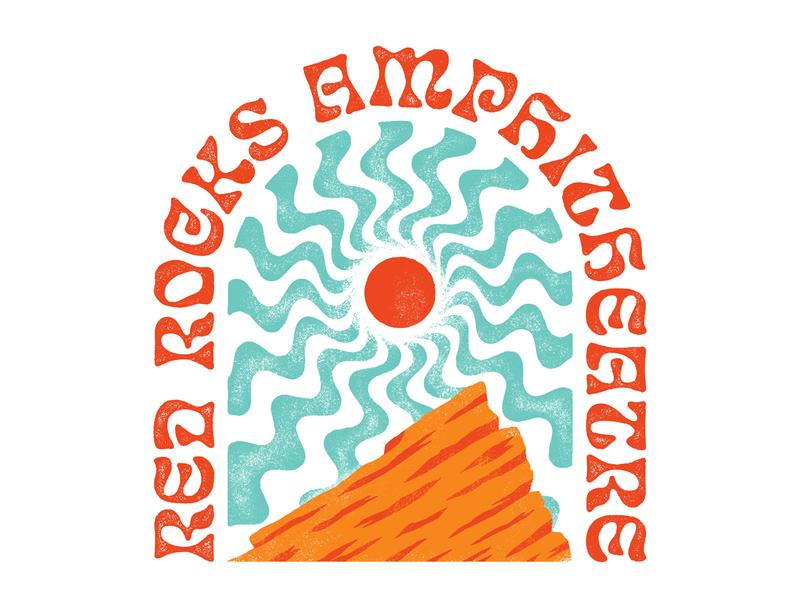 Red Rocks Amphitheatre red rocks colorado typography illustration