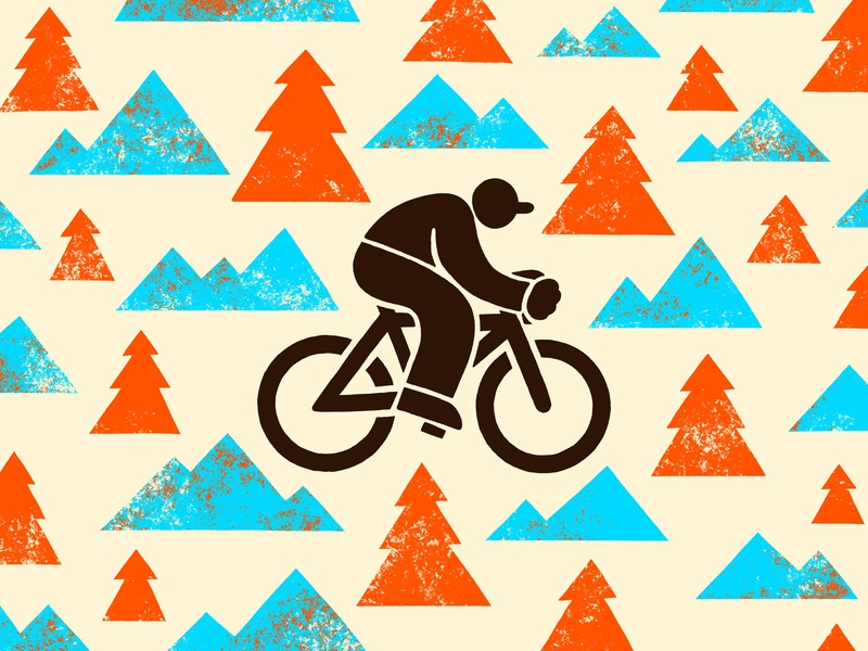Bikin' texture mountains biking design illustration