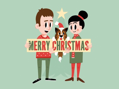 2019 Christmas Card card design dog holiday christmas card christmas illustration