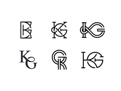 Kg Monograms geometric intersect letters monograms
