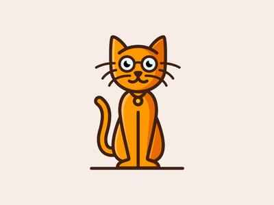 Smartcat cute fun illustrative glasses smart cat