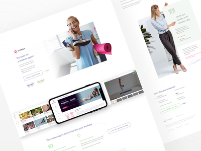 Landing for a home fitness app website layout design web design healthcare landing minimal fitness app fitness health clean userexperience ui uxui ux web