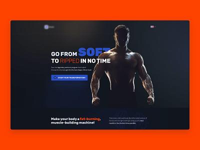 Fitness app for bodybuilders – Landing Page uiux ui deisgn layout landing sport dark app bodybuilding fitness ui design landing page website web design