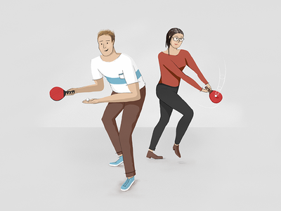 Together Like Ping & Pong table tennis ping pong procreate ipad character