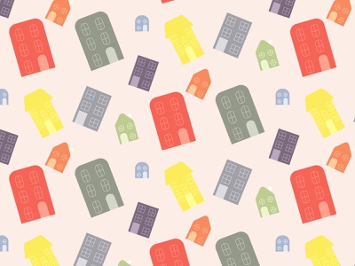 Seamless pattern with colorful houses background design vector graphic design illustration city paper art print color building house pattern