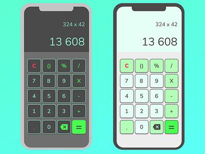 #Daily UI 004 - Calculator dark theme light theme ui design design calculator dailyui