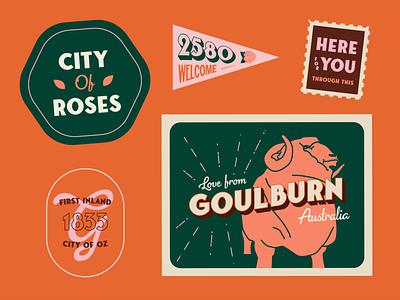 WEEKLY WARMUP // PROMPT #31 illustration typography weeklywarmup weekly weekly challenge postcards retro vintage roses australia sheep flag sticker badge stamp postcard
