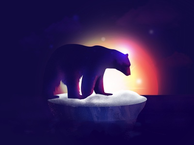 Climate change is real climate emergency sunset glow ambient gradient texture animal polar bear photoshop illustrator illustraion climate change