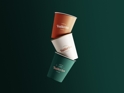 Valleries Cafe Floating Cups retro cafe moody cups print logo design brand identity branding