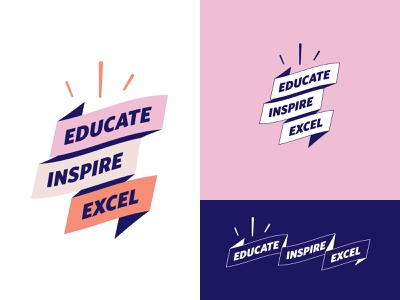 Logo concept design vector branding excel inspire educate concept brand identity brand logo banner excited orange blue pink inline stacked ribbon