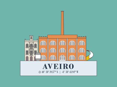 Aveiro, Portugal - Minimal Illustration