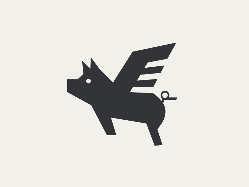 Flying Pig logo farm flying animal pig