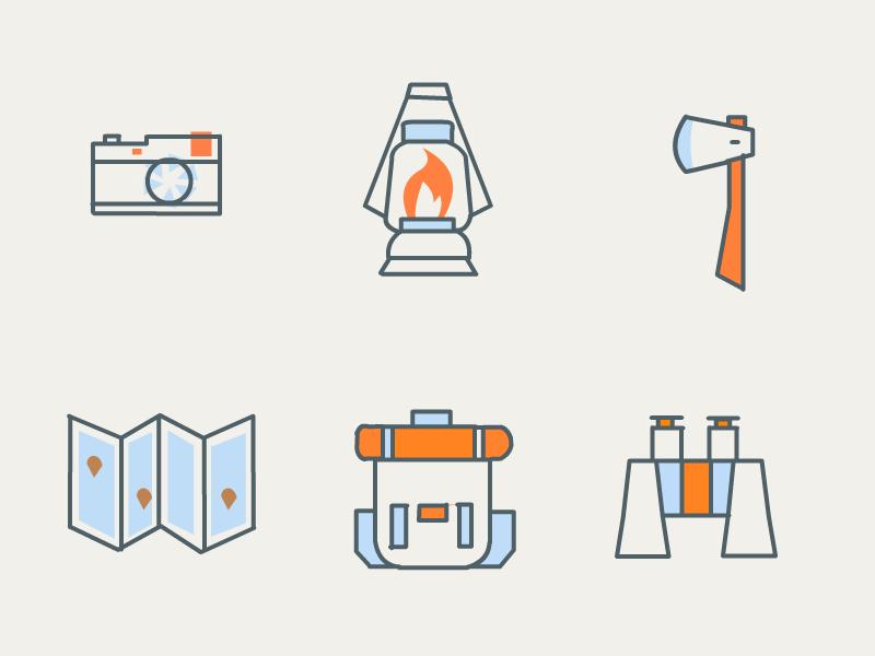 Camping Icons axe lamp binoculars bag icons camping