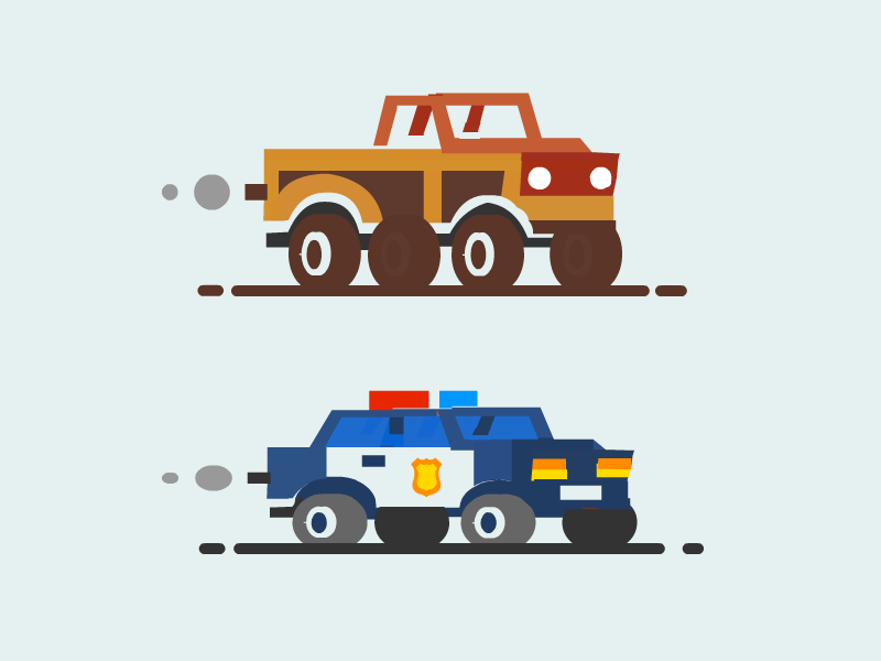 Cars Big police truck car cars