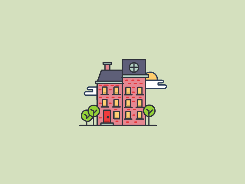 Building small pixel trees city house building