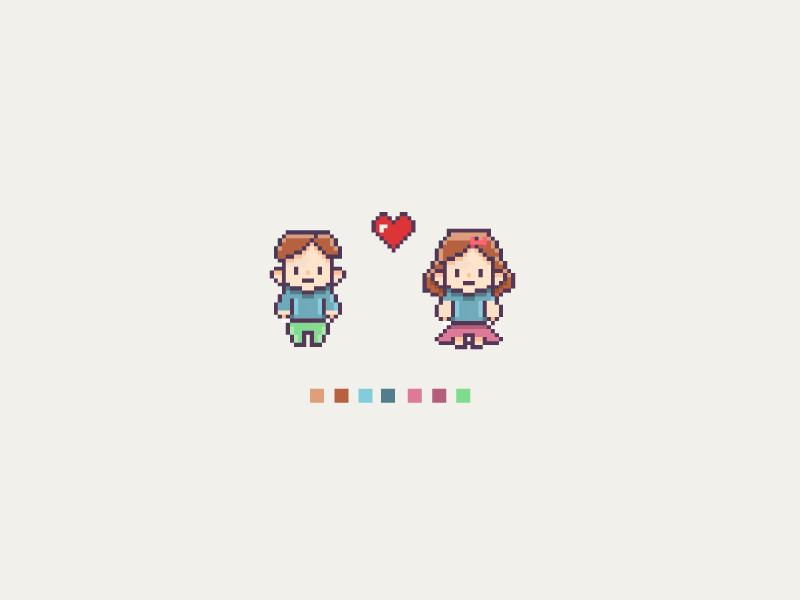 Pixel Love pixel art retro video game heart love pixel people pixel