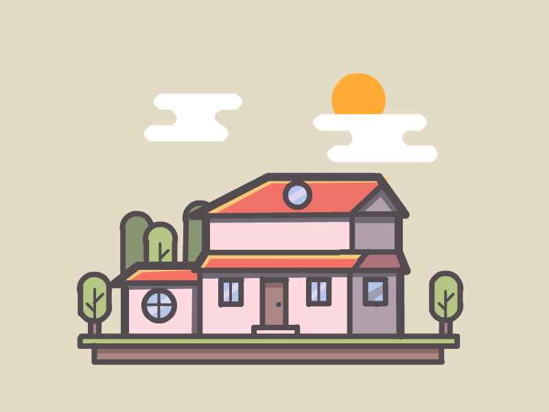 House cute illustration home building house logo