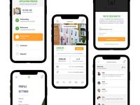 Gridizen Tenancy App white ios clean iphone flat app interface ux design ui
