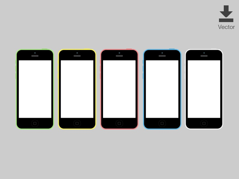 iPhone 5c Vector Download mock up visual ios wireframe download free vector illustrator iphone iphone 5c ui