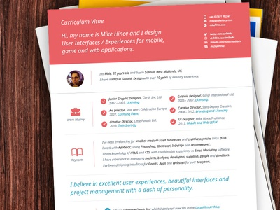 My Cv Resume Design By Mike Hince Dribbble