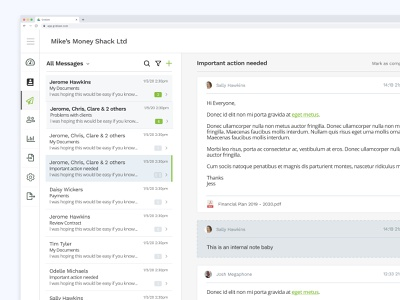 Messaging System flat clean web white inbox messaging interface ux design ui