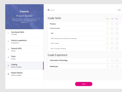 Project Builder Concept projects selection multiple user interface user experience interface ui ux product design website web app webapp builder project