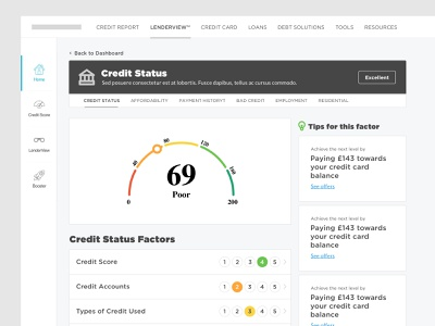 Credit Score Platform clean credit cards uidesign ux design ux ui interface finance financial website webapp desktop dashboard score credit