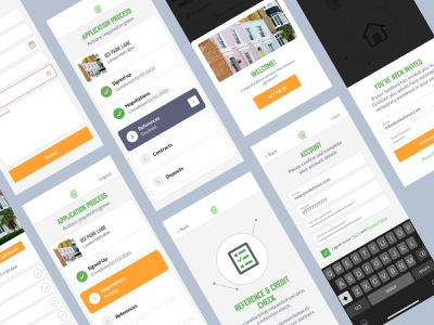 Tenant Application Process ios iphone app invitation ui design ux ui app design onboarding process overlay tenant reference interface sign up app estate agent housing