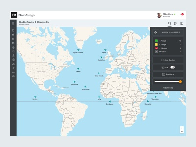 Fleet Manager Dashboard ux ui clean interface shipping management map design maps location tracking ux design ui design dashboard app ships management fleet shipping dashboard