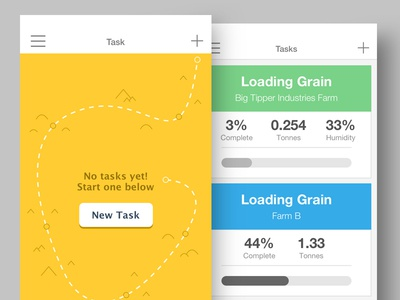 Yellowbox UI interface app yellow tasks flat clean ios iphone design ux ui