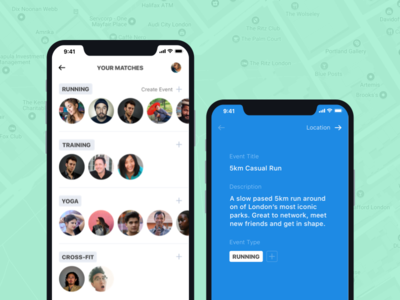 Fitfriends Matches & Group Creation interface iphonex iphone app design matched groups fitness clean ux app ios ui