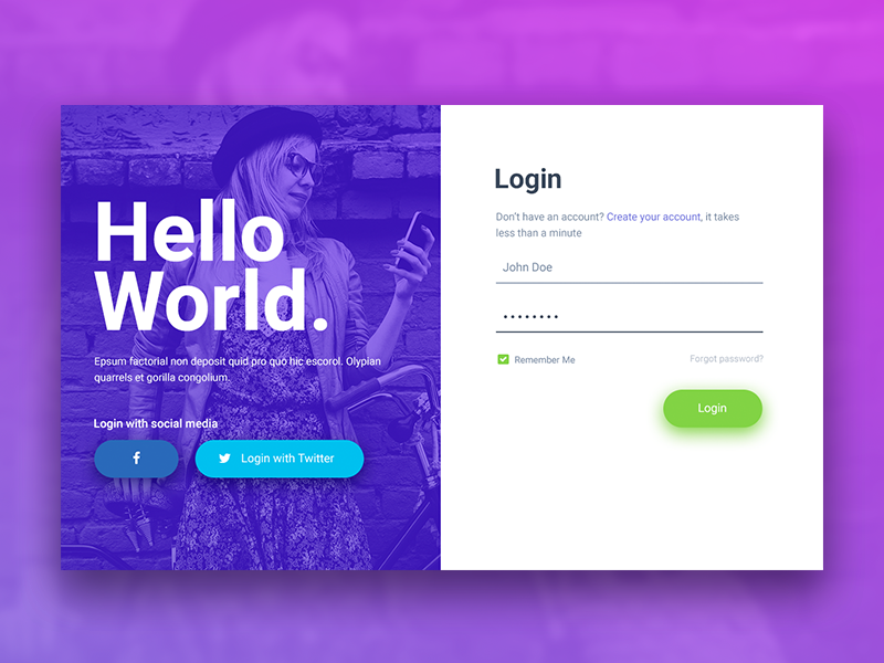 Hello World Login & Registration Form sign up sign in reset password registration modern login form form forfot password create an account