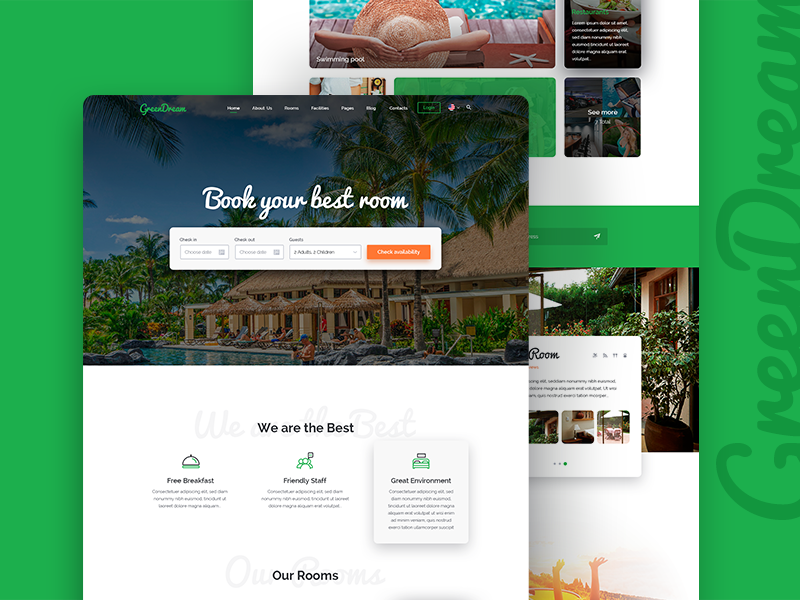 Green Dream  Hotel – PSD Template green travel tour rooms room resort reservation motel hotel holiday booking accommodation