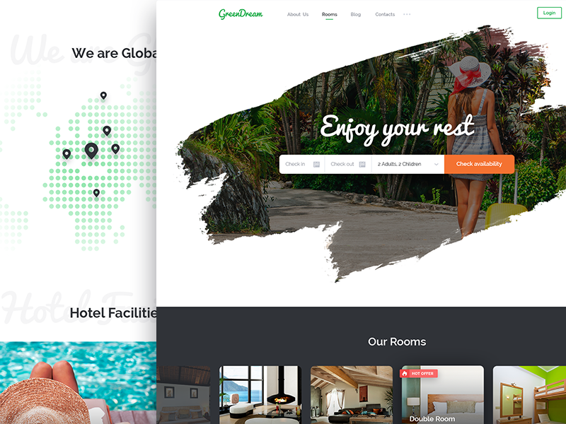 Green Dream Hotel – PSD Template travel tour rooms room resort reservation motel hotel holiday green booking accommodation
