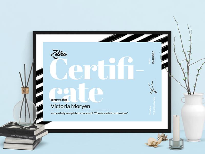 Zebra Certificate salon fashion blue pink black white zebra certificate