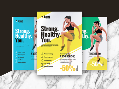 Fitness Flyer/Poster template diet train yoga strong health poster flyer gym fitness sport