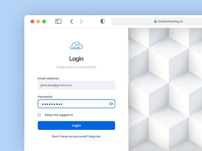 Clean Login app illustration design ui branding
