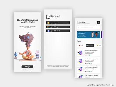 App login and main page branding ux ui design app