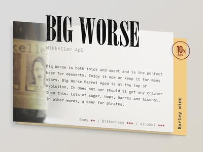 Beer Card perspective rating card beer