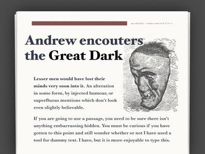 Print layout – pulp fiction engraving grid serif print