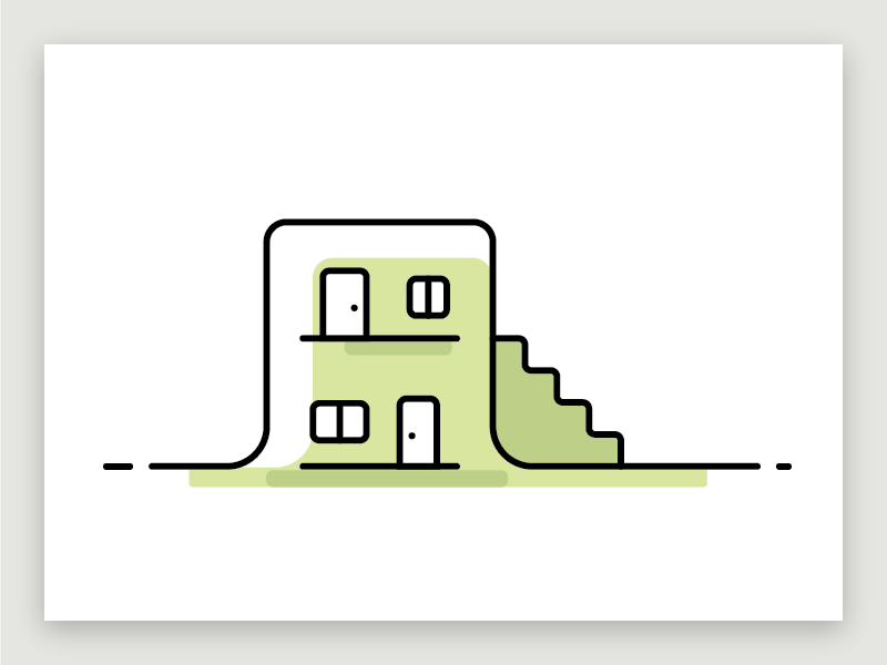 Housing city lodging housing house monochrome line illustration
