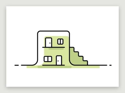 Housing city lodging housing house monochrome line illustration