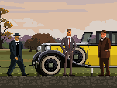 Goldfinger pixel art james bond gentelman spy film 60s movie 8bit pixelart 007 goldfinger