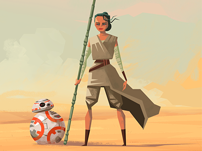 Rey and BB-8 the force awakens star wars droid rey bb-8 bb8