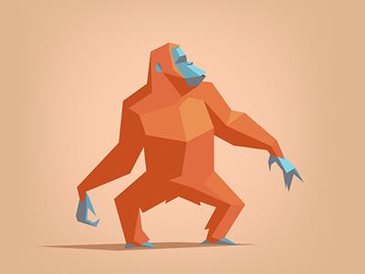 Orangutan low poly art low poly jungle origami drawing artwork illustration lowpoly animal ape monkey orangutan