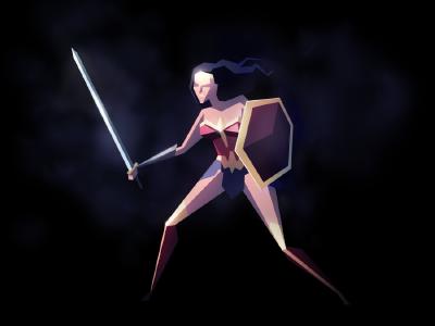 Wonder Woman low poly super hero gal gadot wonder woman gaming retro superhero warner illustration lowpoly galgadot wonderwoman