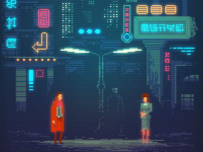 Blade Runner film noir geek art digital art retro gaming pixel art blade ronner neon illustration gaming 8bit pixelart bladerunner