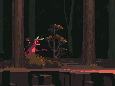 Demon forrest wood devil demon 8bit alien retro gaming film arrival pixel art pixelart