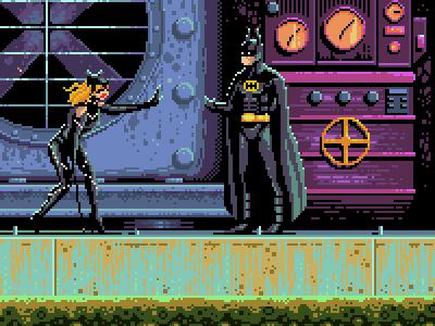 Batman returns digital art video games gaming 8bit art 8bits pixel art pixelart tim burton the dark knight dc catwoman selena bruce wayne batman